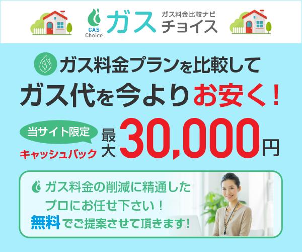 最大30000円現金キャッシュバック!ガス代を今よりお安く!【ガスチョイス】(都市ガス)